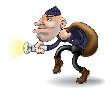 illustration of a robber or burglar creeping along with his swag bag